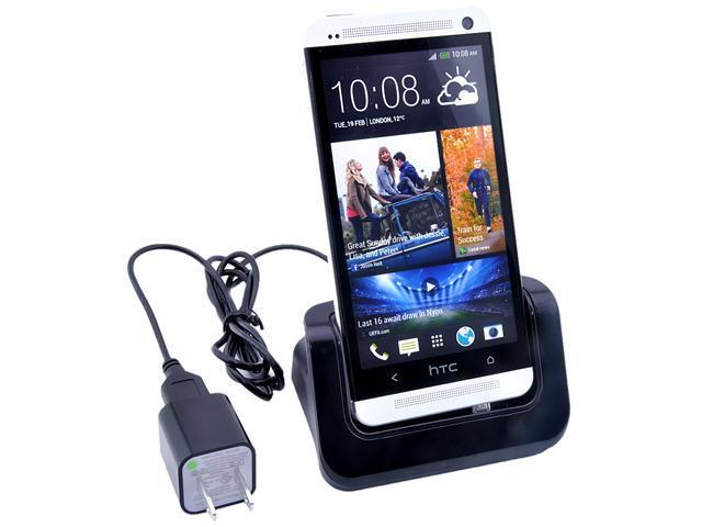 Desktop Docking Station Cradle Stand + AC Home Wall Charger For HTC ONE M7