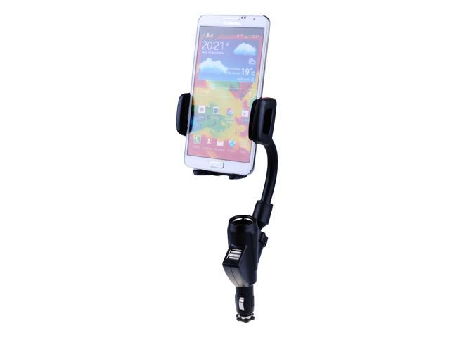 Universal Rotating Car Mount Lighter Holder with Charging Dual USB Port for iPods /PDAs /GPSs /Cell phones (iphone 5S, 5C, 5, 4S, 4, 3GS; HTC, Samsung, Sony, Nokia, Blackberry)
