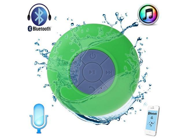 Green Waterproof Wireless A2DP Bluetooth Mini Speaker with Suction Cup for Car Showers Bathroom Pool Boat Beach Outdoor(Portable ...