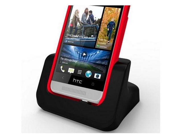USB Dual Desktop Charger Charging Cradle dock Station for HTC One Max Black (Case Compatible)