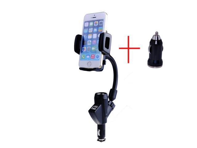 Dual USB Car Cigarette Lighter Mount Holder Charger with Car Charger for iPhone 5, 4S, 4, HTC One M7, Sony Xperia Z L36H ...