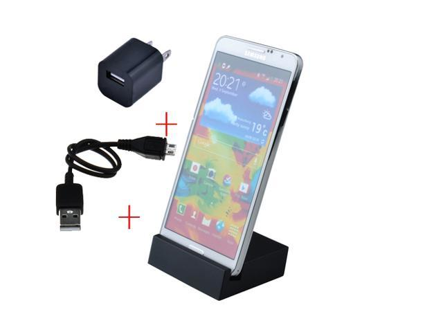 Data Sync Charging Docking Station Charger USB 3.0  for Samsung Galaxy Note 3 + USB Wall Charger Black