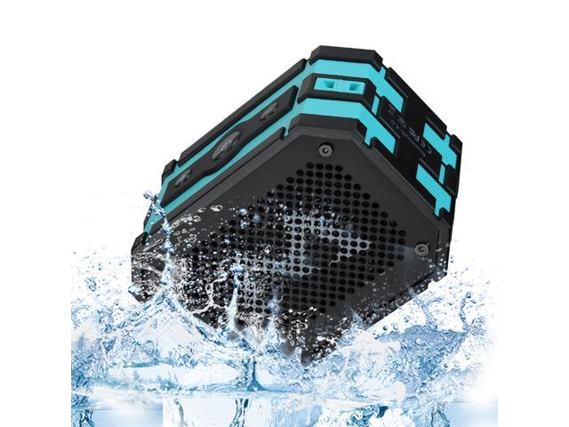 Mpow Armor Portable Bluetooth Speaker and 5W Strong Drive/Passive Radiator with Emergency Power Surpply for Waterproof Shockproof and Dustproof Outdoor/Shower/MP3/PC-(Black/blue)