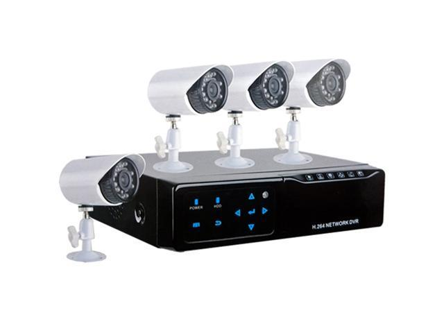 HQ-Cam 4 Channel CCTV Security Surveillance H.264 Network DVR with 4 x Infrared Bullet Camera System Kit & NO Hard Drive ...