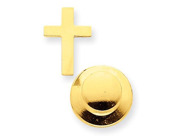 14k Yellow Gold Polished Cross Tie Tac