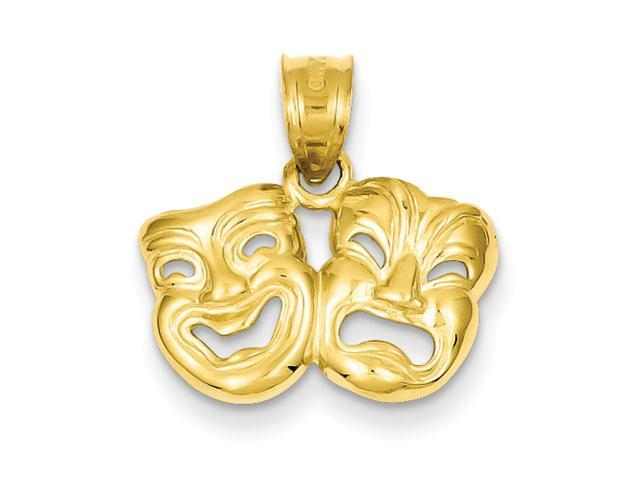 14k Yellow Gold Polished Open-Backed Comedy/Tragedy Pendant