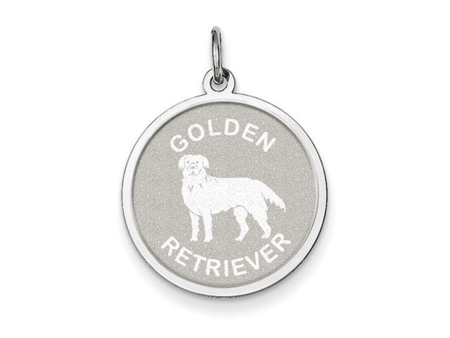 Sterling Silver Gold Engravableen Retriever Disc Charm