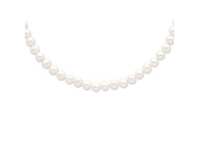 Sterling 20in Silver 8-9mm White Freshwater Cultured Pearl Necklace.