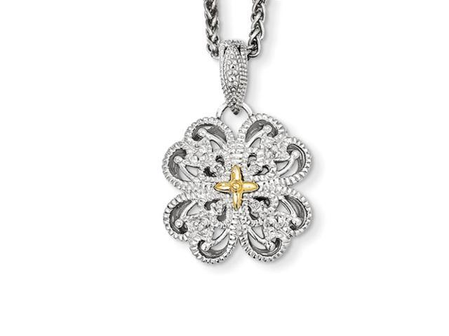 Sterling Silver 14k Yellow Gold Plated 1/20ct. Diamond Vintage 18in Necklace (Color H-I, Clarity SI2-I1)