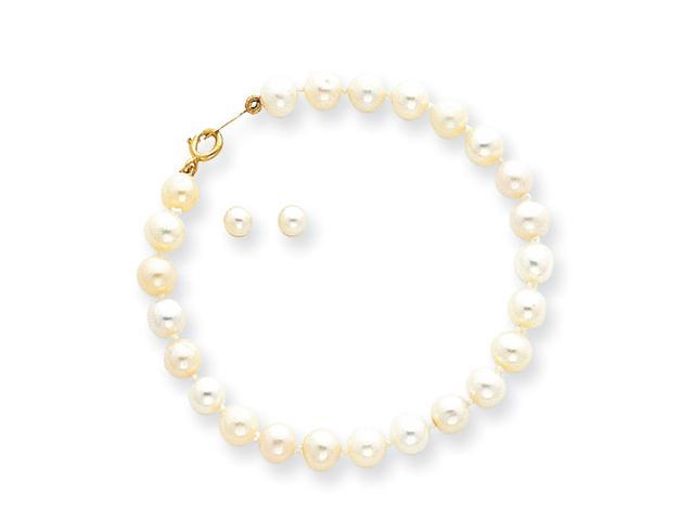 "14k Yellow Gold Baby Cultured Pearl Set - 5.5"" Bracelet & Screwback Earring Set"