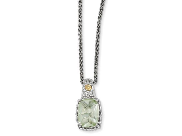 Sterling Silver w/ 14k Yellow Gold Plated Green Quartz Vintage Style Necklace