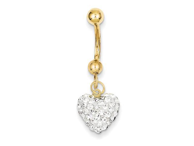 10k Yellow Gold w/ Dangle White Crystal Heart Belly Dangle