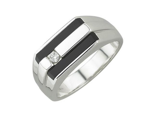 14K White Gold 0.08ct Ultimate Style Flush Set Diamond & Black Simulted Onyx Men's Ring