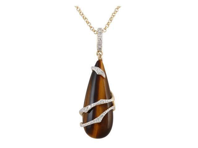 14K Yellow Gold 6.64ct Spiral Diamond & Tiger's eye Pendant Necklace