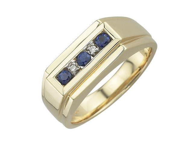 14K Yellow Gold 0.36ct Channel Set Diamond & Round Sapphire Mens Ring