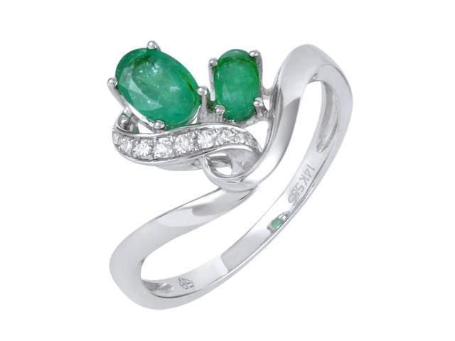 14K White Gold 0.72ct Powerful Love Diamond & Oval Synthetic Green Emerald Gemstone Ring