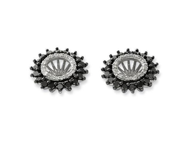 Sterling Silver Black & White Earring Jacket ( 1ct) (0.4IN x 0.5IN )