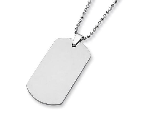 Tungsten Polished Dog Tag Necklace (24in long)