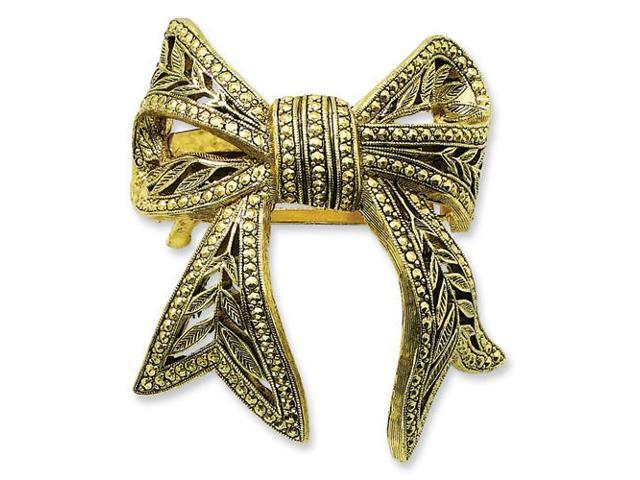 Decorated Brass-tone Bow Ponytail Holder