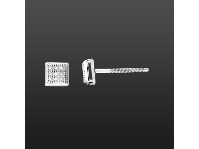 10K White Gold 0.05cttw Very Masculine Round Diamond Mens Micro Pave Stud Earring