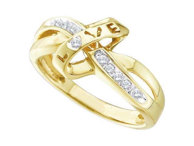 10k yellow gold channel set diamond twist love