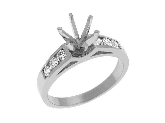 14K White Gold 0.36cttw Round Diamond Semi Mount Engagement Ring