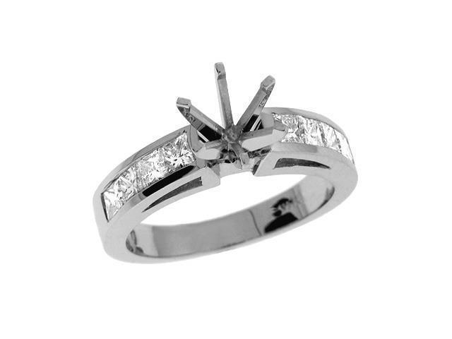 14K White Gold 0.95cttw Princess Diamond Semi Mount Engagement Ring