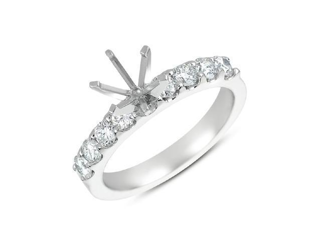 14K White Gold 0.58cttw Round Diamond Semi Mount Engagement Ring