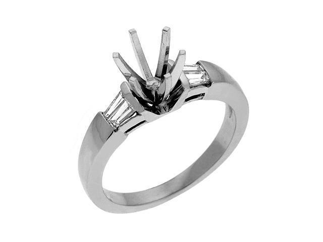 14K White Gold 0.3cttw Baguette Diamond Semi Mount Engagement Ring