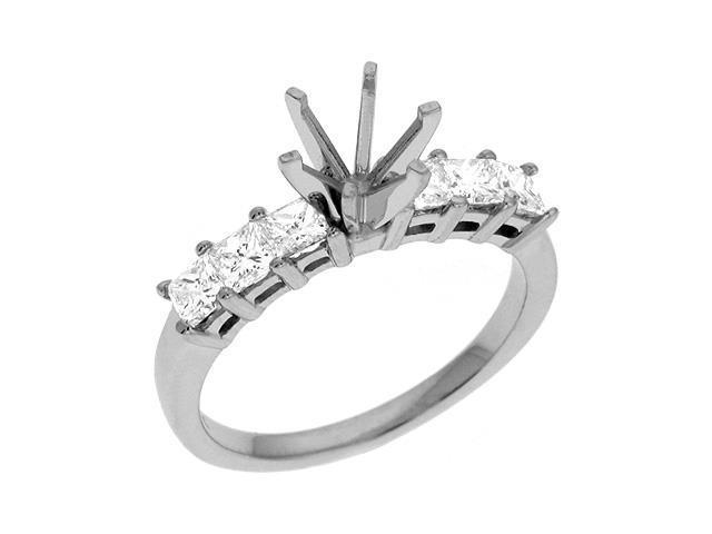 14K White Gold 0.9cttw Princess Diamond Semi Mount Engagement Ring