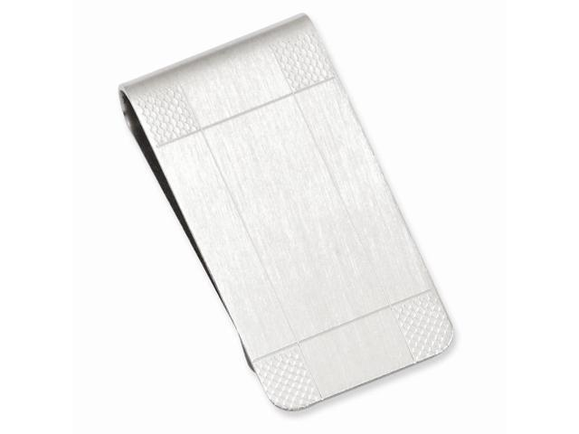 Rhodium Plated Stainless Steel Satin Patterned Corner Engravable Money Clip