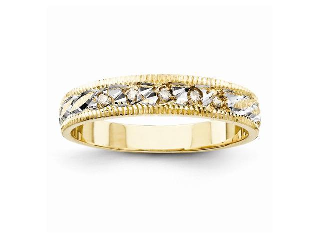 14k Yellow Gold Fine Trio Ladies Wedding Band (Color H-I, Clarity SI2-I1)