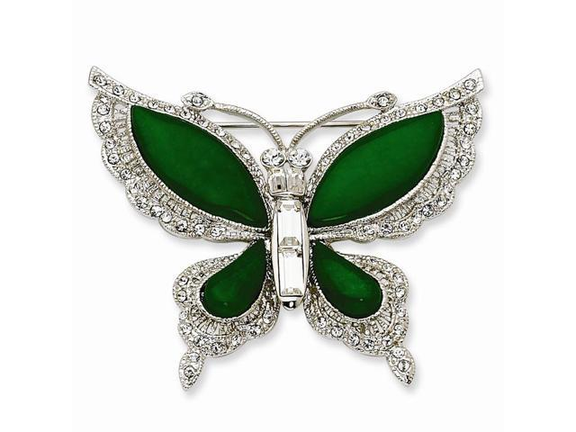 Silvertone Swarovski Synthetic Crystal Simulated Butterfly Pin