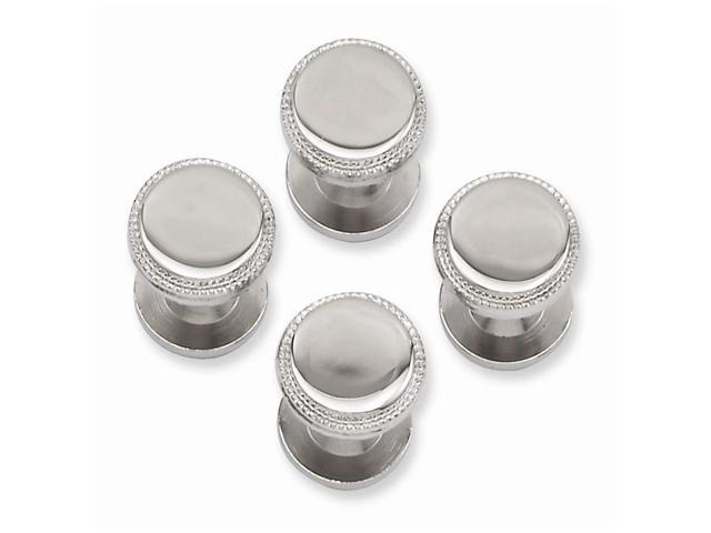 Rhodium Plated Engravable Stainless Steel Four Piece Polished Beaded Tuxedo Studs