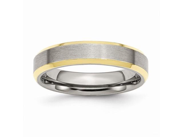 Stainless Steel 5mm Brushed & Polished 14k Gold-Plated Engravable Band