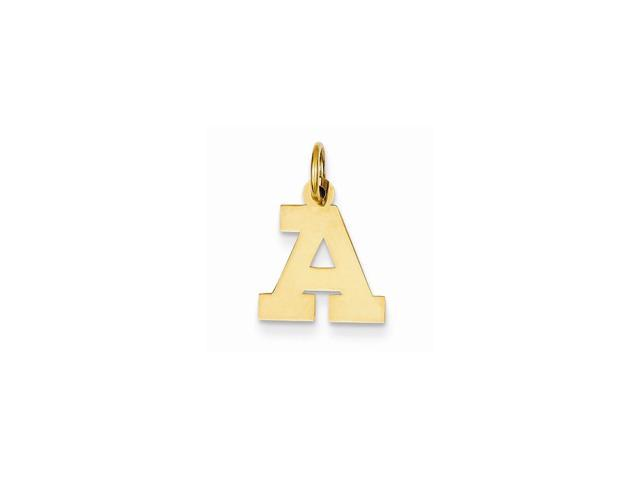 14k Yellow Gold Small Block Intial A Charm Pendant