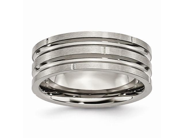 Titanium Notched & Grooved 8mm Satin Engravable Band