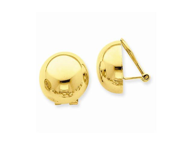 14k Yellow Gold Omega Clip 16mm Half Ball Non-pierced Earrings (0.6IN Diameter)