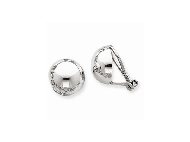 14k White Gold Polished Non-pierced Back Earrings (0.4IN x 0.4IN)