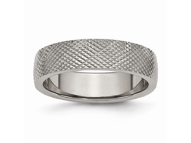 Titanium 6mm Patterned Polished Engravable Band