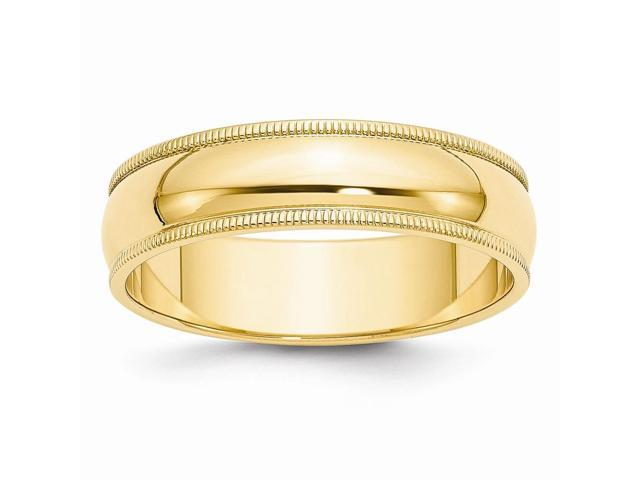 14k Yellow Gold Engravable 6mm Milgrain Half-Round Wedding Band
