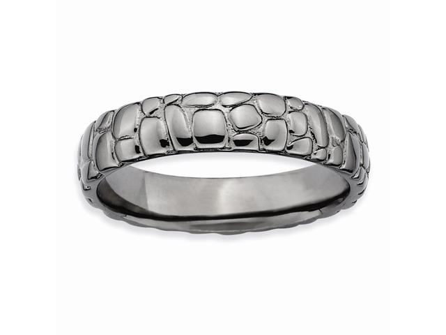 Specially Romantic Silver Stackable Black Band