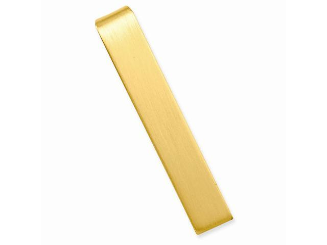 Stainless Steel 14K Gold Plated Engravable Satin Tie Bar