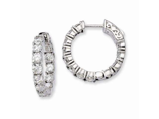 Sterling Silver Rhodium Plated with Synthetic CZ 0.7IN Hinged Hoop Earrings (0.7IN x 0.8IN )