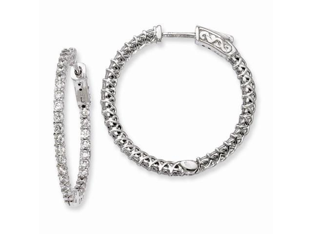 Sterling Silver Rhodium Plated with Synthetic CZ 1.0IN Hinged Hoop Earrings (1IN x 1.1IN )