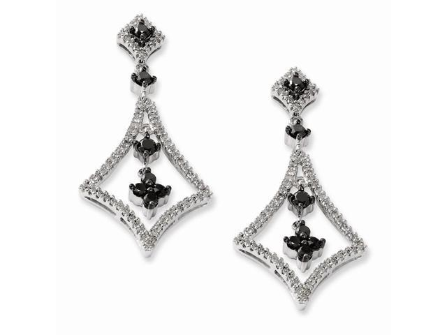 Silver Black and White Diamond Geometric Dangle Post Earrings. Carat Wt- 1.5ct. (1.2IN x 0.7IN )