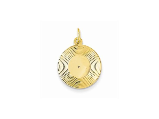 14k Yellow Gold Engravable Musical Series Record Album Pendant