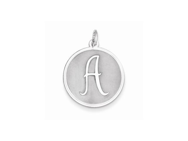 Sterling Silver Engravable Brocaded Initial A Charm (1.1IN long x 0.8IN wide)