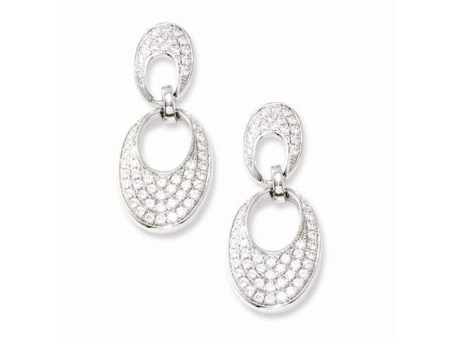 Sterling Silver & Synthetic CZ Brilliant Embers Dangle Post Earrings (1IN x 0.4IN )