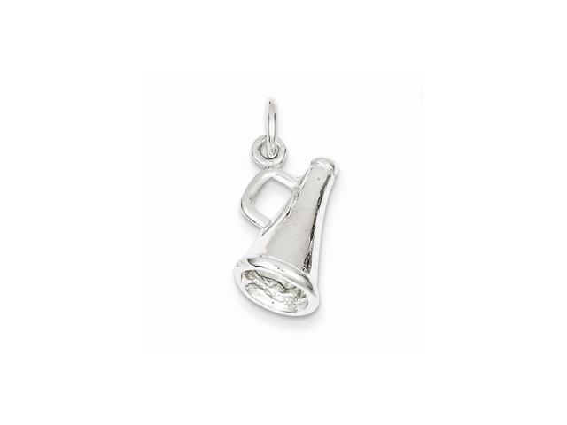 Sterling Silver Polished Megaphone Charm (0.7IN long x 0.5IN wide)